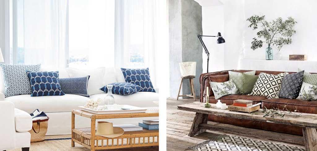 dwie aranzacje jasna skandynawska drewniany stol kanapa skorzana