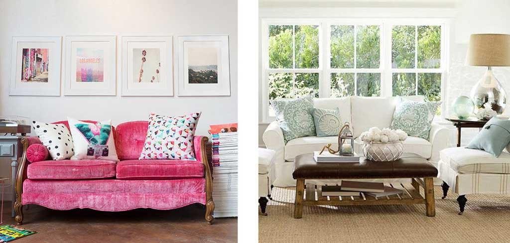 Różowa kanapa kolorowe poduszki żywe kolory