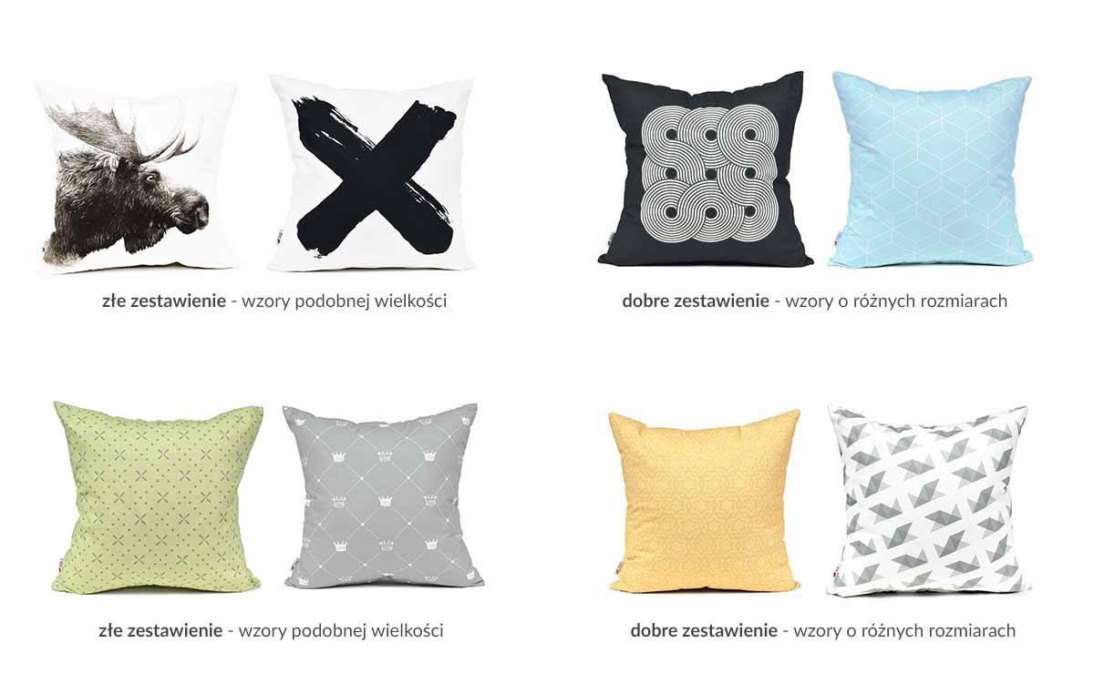 Zasady zestawiania poduszek dekoracyjnych - małe i duże wzory