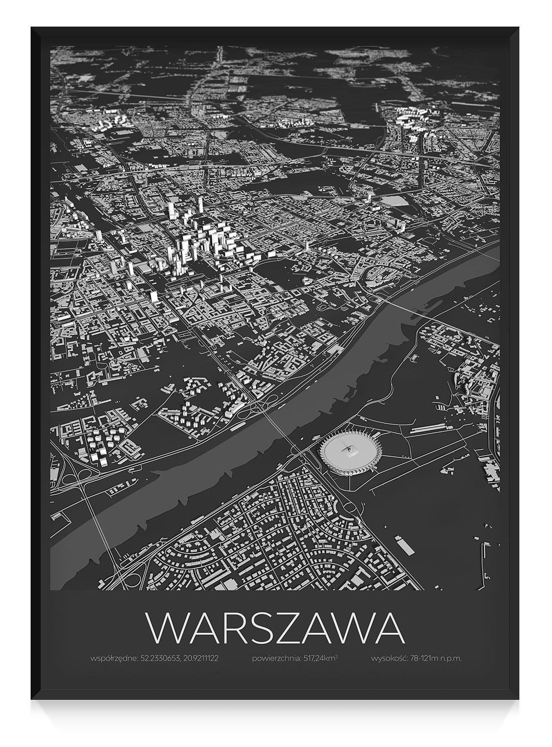 Plakat Z Mapą Warszawy Ciemny